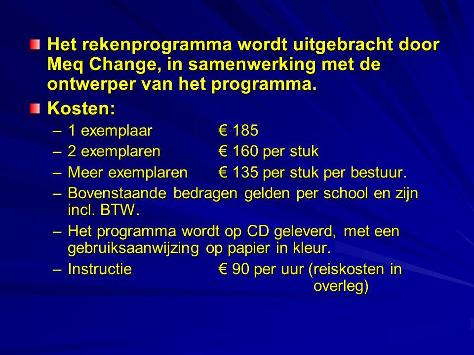 Het rekenprogramma wordt uitgebracht door Meq Change, in samenwerking met de ontwerper van het programma. Kosten: –1 exemplaar€ 185 –2 exemplaren€ 160