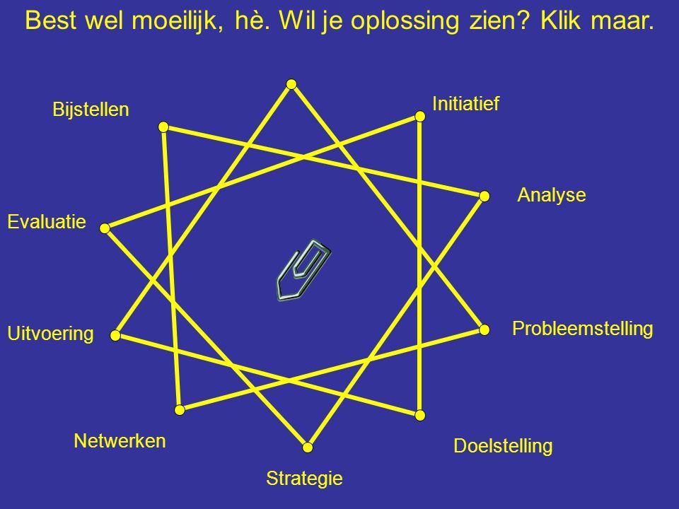 Initiatief Analyse Probleemstelling Strategie Uitvoering Doelstelling Evaluatie Netwerken Bijstellen