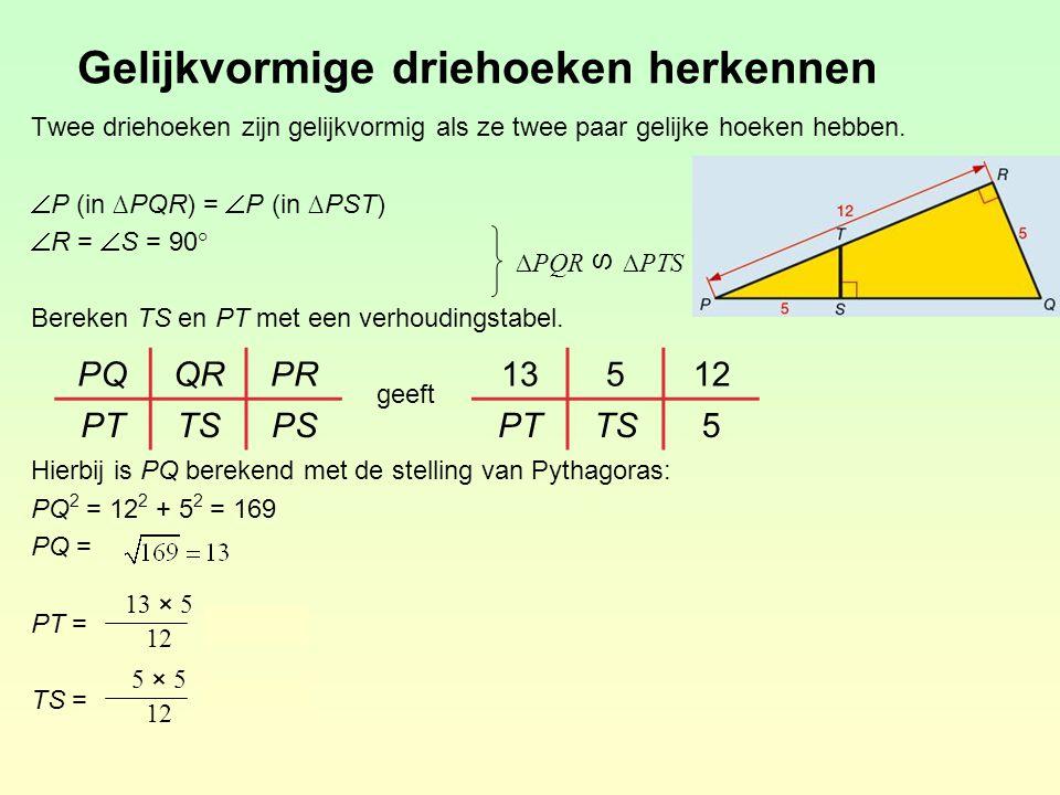 Gelijkvormige driehoeken herkennen Twee driehoeken zijn gelijkvormig als ze twee paar gelijke hoeken hebben.  P (in ∆PQR) =  P (in ∆PST)  R =  S =