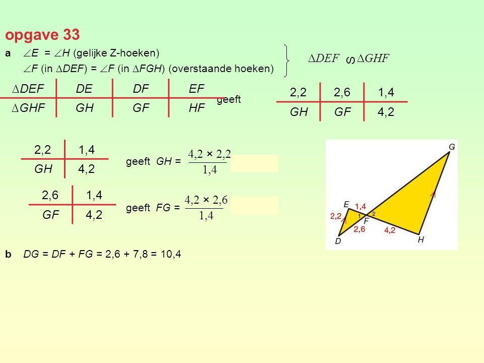 opgave 33 a  E =  H (gelijke Z-hoeken)  F (in ∆DEF) =  F (in ∆FGH) (overstaande hoeken) geeft geeft GH = = 6,6 geeft FG = = 7,8 bDG = DF + FG = 2,