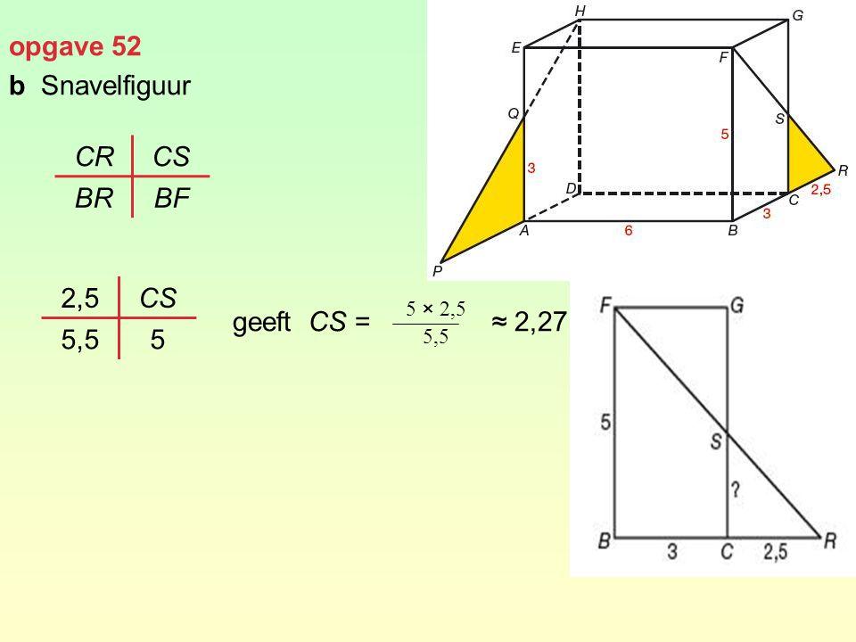 opgave 52 bSnavelfiguur geeft CS = ≈ 2,27 CRCS BRBF 2,5CS 5,55 5 × 2,5 5,5