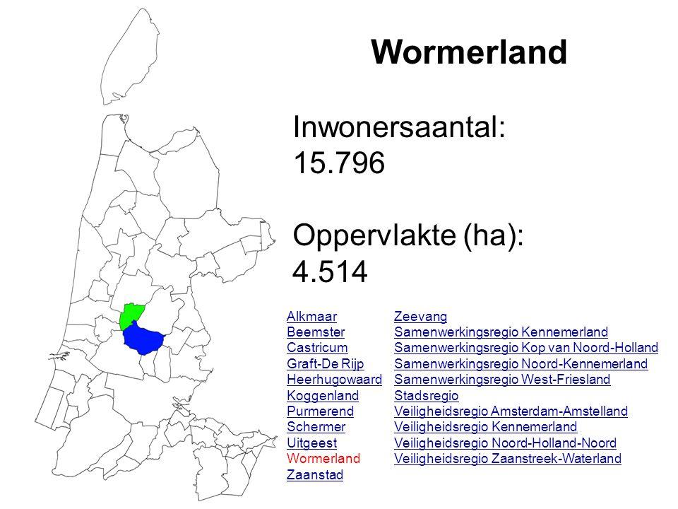 Wormerland Inwonersaantal: 15.796 Oppervlakte (ha): 4.514 Alkmaar Beemster Castricum Graft-De Rijp Heerhugowaard Koggenland Purmerend Schermer Uitgeest Wormerland Zaanstad Zeevang Samenwerkingsregio Kennemerland Samenwerkingsregio Kop van Noord-Holland Samenwerkingsregio Noord-Kennemerland Samenwerkingsregio West-Friesland Stadsregio Veiligheidsregio Amsterdam-Amstelland Veiligheidsregio Kennemerland Veiligheidsregio Noord-Holland-Noord Veiligheidsregio Zaanstreek-Waterland