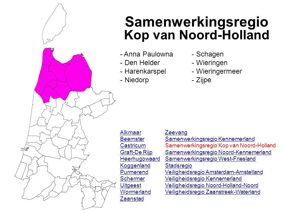 Samenwerkingsregio Kop van Noord-Holland Alkmaar Beemster Castricum Graft-De Rijp Heerhugowaard Koggenland Purmerend Schermer Uitgeest Wormerland Zaan