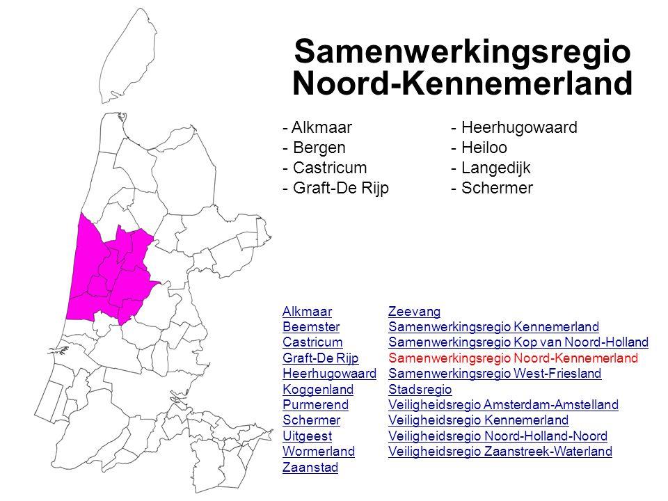 Samenwerkingsregio Noord-Kennemerland Alkmaar Beemster Castricum Graft-De Rijp Heerhugowaard Koggenland Purmerend Schermer Uitgeest Wormerland Zaanstad - Alkmaar - Bergen - Castricum - Graft-De Rijp - Heerhugowaard - Heiloo - Langedijk - Schermer Zeevang Samenwerkingsregio Kennemerland Samenwerkingsregio Kop van Noord-Holland Samenwerkingsregio Noord-Kennemerland Samenwerkingsregio West-Friesland Stadsregio Veiligheidsregio Amsterdam-Amstelland Veiligheidsregio Kennemerland Veiligheidsregio Noord-Holland-Noord Veiligheidsregio Zaanstreek-Waterland