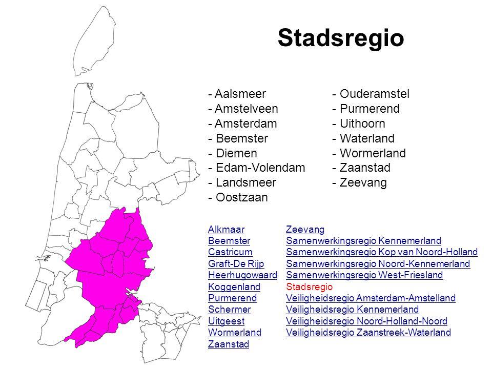 Stadsregio Alkmaar Beemster Castricum Graft-De Rijp Heerhugowaard Koggenland Purmerend Schermer Uitgeest Wormerland Zaanstad Zeevang Samenwerkingsregi