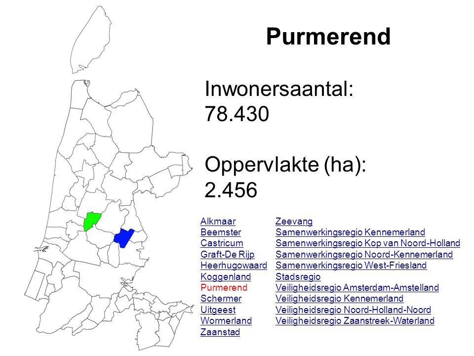 Purmerend Inwonersaantal: 78.430 Oppervlakte (ha): 2.456 Alkmaar Beemster Castricum Graft-De Rijp Heerhugowaard Koggenland Purmerend Schermer Uitgeest Wormerland Zaanstad Zeevang Samenwerkingsregio Kennemerland Samenwerkingsregio Kop van Noord-Holland Samenwerkingsregio Noord-Kennemerland Samenwerkingsregio West-Friesland Stadsregio Veiligheidsregio Amsterdam-Amstelland Veiligheidsregio Kennemerland Veiligheidsregio Noord-Holland-Noord Veiligheidsregio Zaanstreek-Waterland