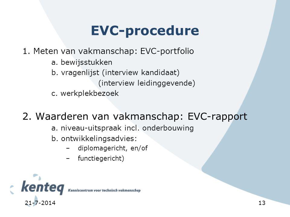 21-7-201413 EVC-procedure 1. Meten van vakmanschap: EVC-portfolio a. bewijsstukken b. vragenlijst (interview kandidaat) (interview leidinggevende) c.