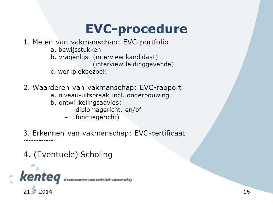 21-7-201416 EVC-procedure 1. Meten van vakmanschap: EVC-portfolio a. bewijsstukken b. vragenlijst (interview kandidaat) (interview leidinggevende) c.