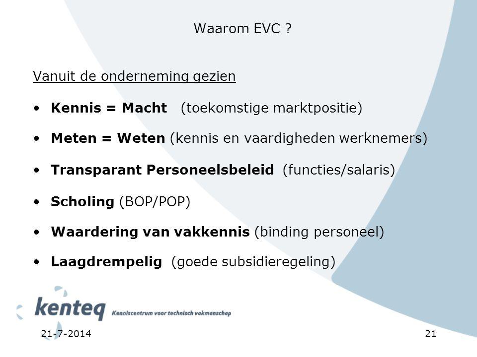 21-7-201421 Waarom EVC ? Vanuit de onderneming gezien Kennis = Macht (toekomstige marktpositie) Meten = Weten (kennis en vaardigheden werknemers) Tran