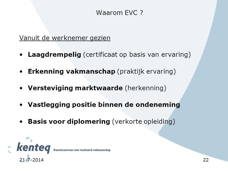 21-7-201422 Waarom EVC ? Vanuit de werknemer gezien Laagdrempelig (certificaat op basis van ervaring) Erkenning vakmanschap (praktijk ervaring) Verste
