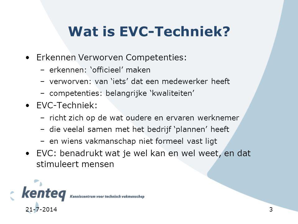 3 Wat is EVC-Techniek? Erkennen Verworven Competenties: –erkennen: 'officieel' maken –verworven: van 'iets' dat een medewerker heeft –competenties: be