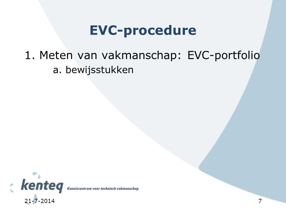7 EVC-procedure 1. Meten van vakmanschap: EVC-portfolio a. bewijsstukken