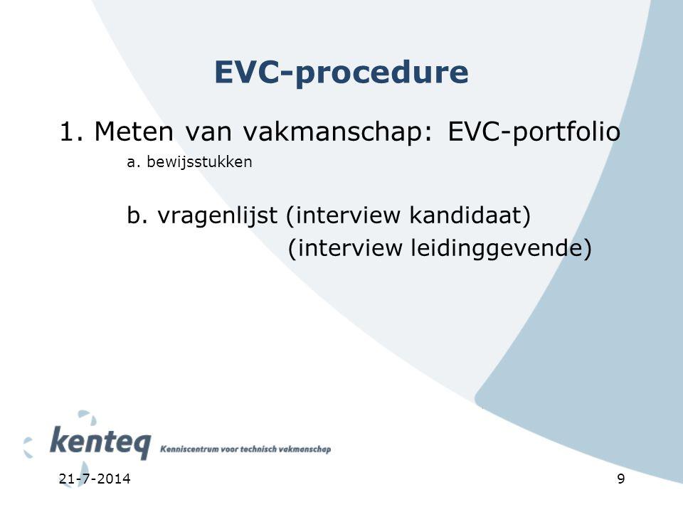 9 EVC-procedure 1. Meten van vakmanschap: EVC-portfolio a. bewijsstukken b. vragenlijst (interview kandidaat) (interview leidinggevende)