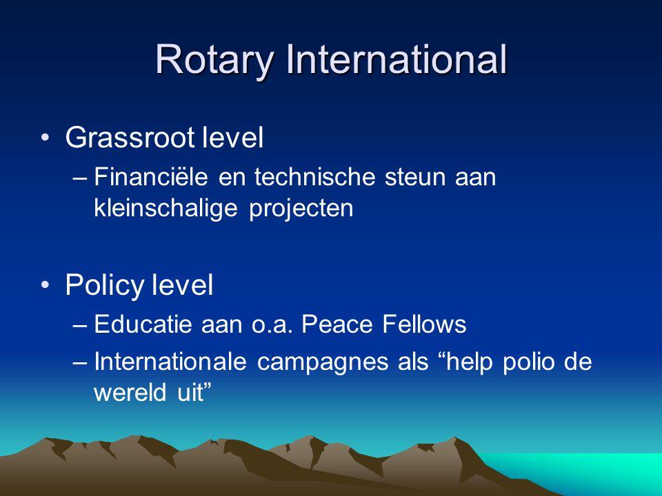 Rotary International Grassroot level –Financiële en technische steun aan kleinschalige projecten Policy level –Educatie aan o.a.
