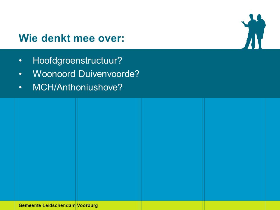 Gemeente Leidschendam-Voorburg Wie denkt mee over: Hoofdgroenstructuur? Woonoord Duivenvoorde? MCH/Anthoniushove?