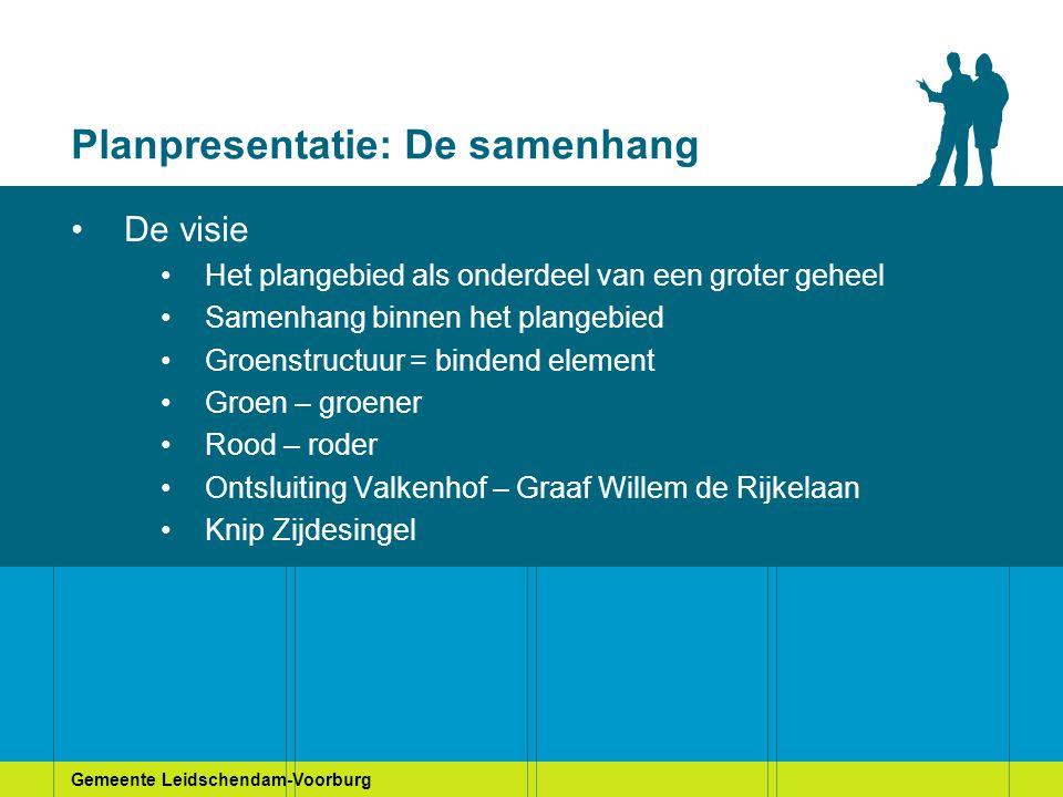 Gemeente Leidschendam-Voorburg Planpresentatie: De samenhang De visie Het plangebied als onderdeel van een groter geheel Samenhang binnen het plangebi