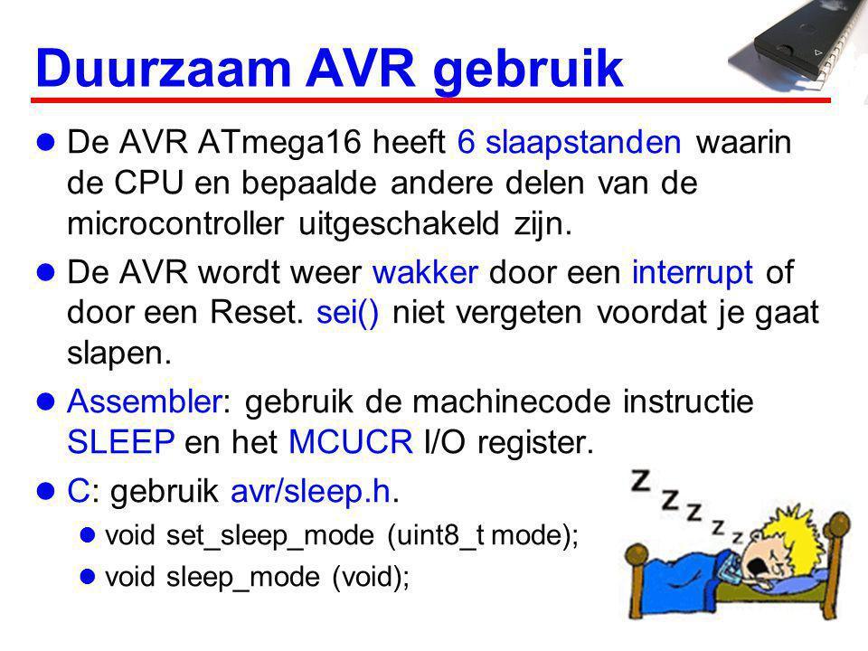 Slaapstanden modeCPUI/OADCT/C2 (async) System clock SLEEP_MODE_IDLE SLEEP_MODE_ADC SLEEP_MODE_EXT_STANDBY SLEEP_MODE_STANDBY SLEEP_MODE_PWR_SAVE SLEEP_MODE_PWR_DOWN Dieper slapen betekent: Minder hardware beschikbaar.