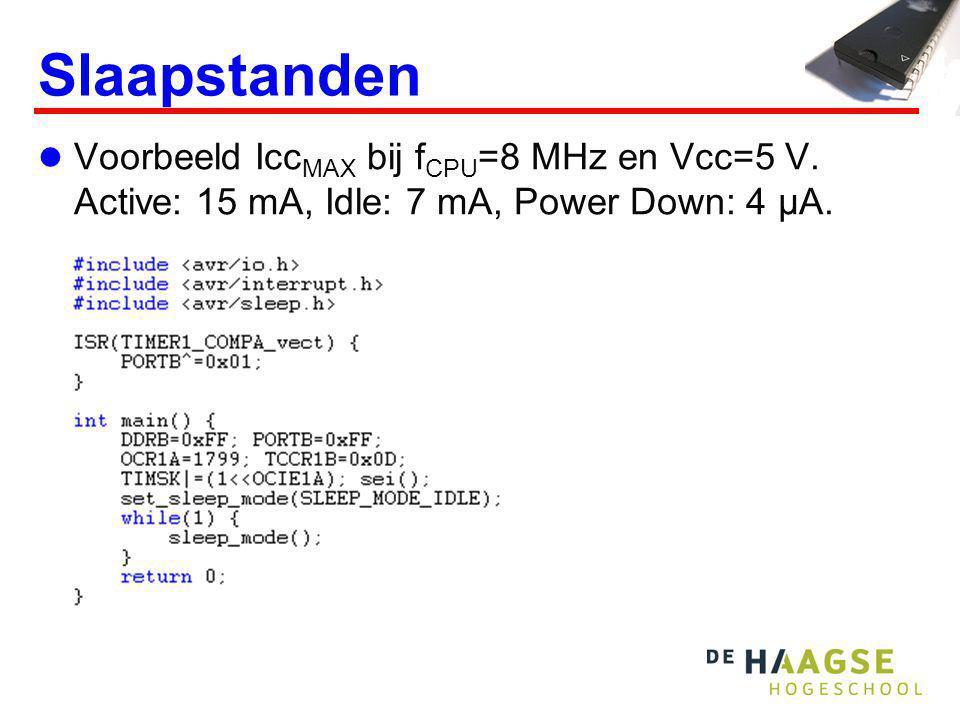 Slaapstanden Voorbeeld Icc MAX bij f CPU =8 MHz en Vcc=5 V. Active: 15 mA, Idle: 7 mA, Power Down: 4 μA.