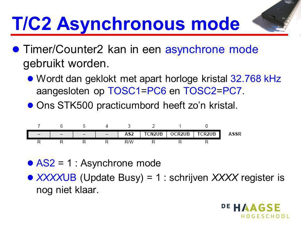 T/C2 Asynchronous mode Timer/Counter2 kan in een asynchrone mode gebruikt worden. Wordt dan geklokt met apart horloge kristal 32.768 kHz aangesloten o