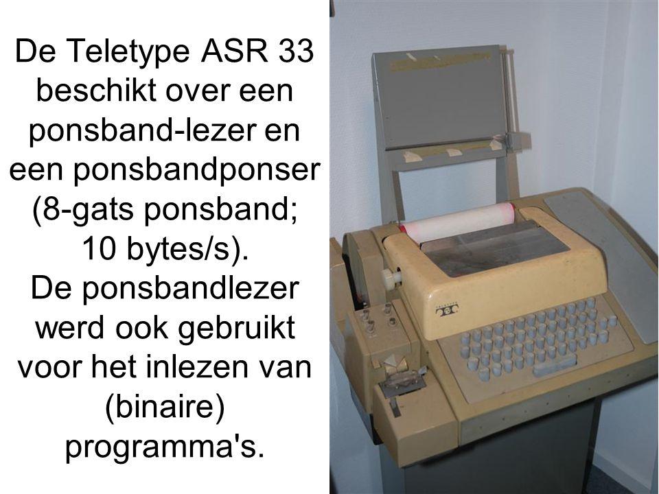 De Teletype ASR 33 beschikt over een ponsband-lezer en een ponsbandponser (8-gats ponsband; 10 bytes/s). De ponsbandlezer werd ook gebruikt voor het i