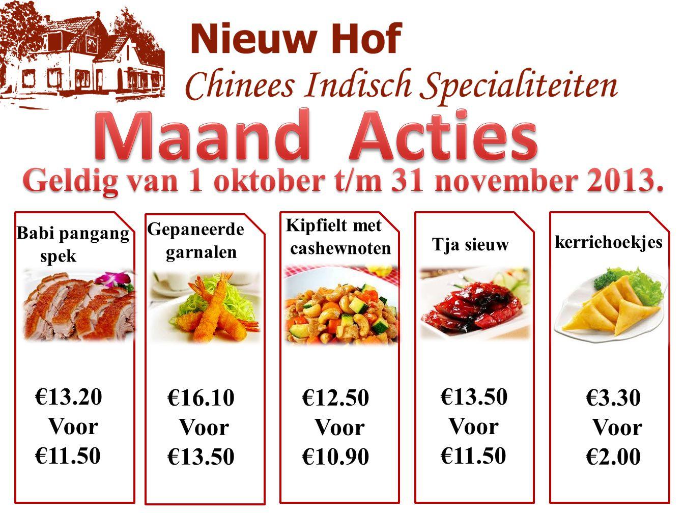 Babi pangang spek €13.20 Voor €11.50 €3.30 Voor €2.00 €13.50 Voor €11.50 €12.50 Voor €10.90 €16.10 Voor €13.50 Gepaneerde garnalen Kipfielt met cashew