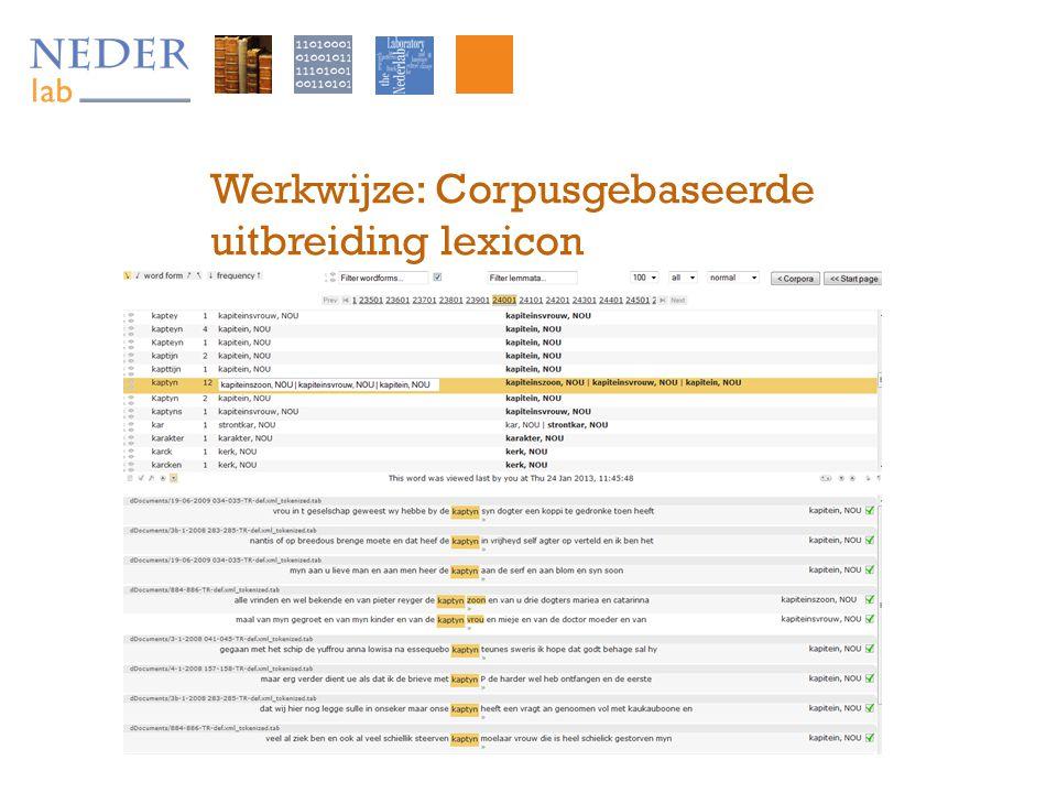 Werkwijze: Corpusgebaseerde uitbreiding lexicon