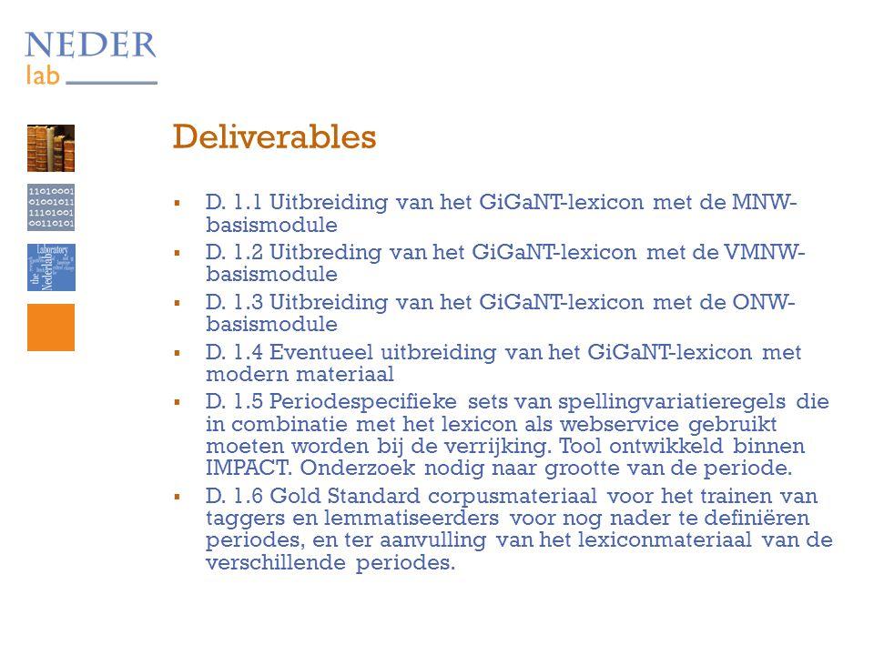 Deliverables  D. 1.1 Uitbreiding van het GiGaNT-lexicon met de MNW- basismodule  D.