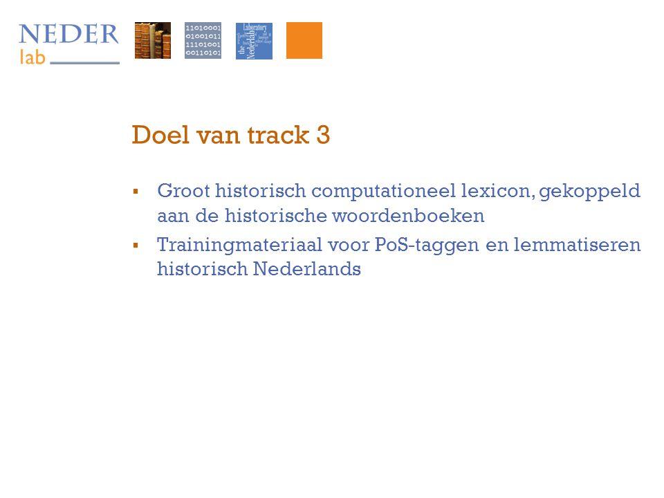 Doel van track 3  Groot historisch computationeel lexicon, gekoppeld aan de historische woordenboeken  Trainingmateriaal voor PoS-taggen en lemmatiseren historisch Nederlands