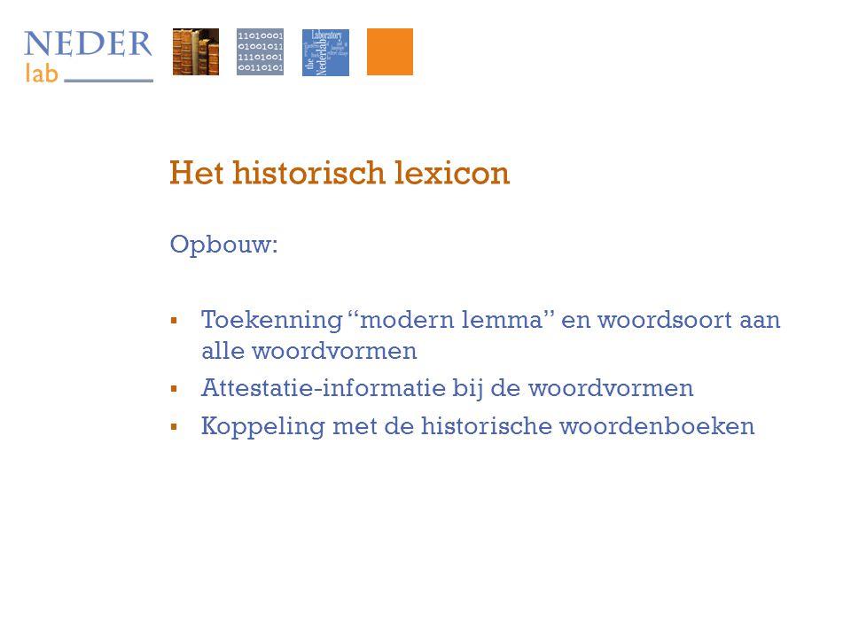 Het historisch lexicon Opbouw:  Toekenning modern lemma en woordsoort aan alle woordvormen  Attestatie-informatie bij de woordvormen  Koppeling met de historische woordenboeken