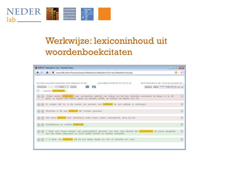 Werkwijze: lexiconinhoud uit woordenboekcitaten