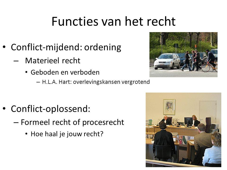 Functies van het recht Conflict-mijdend: ordening – Materieel recht Geboden en verboden – H.L.A. Hart: overlevingskansen vergrotend Conflict-oplossend