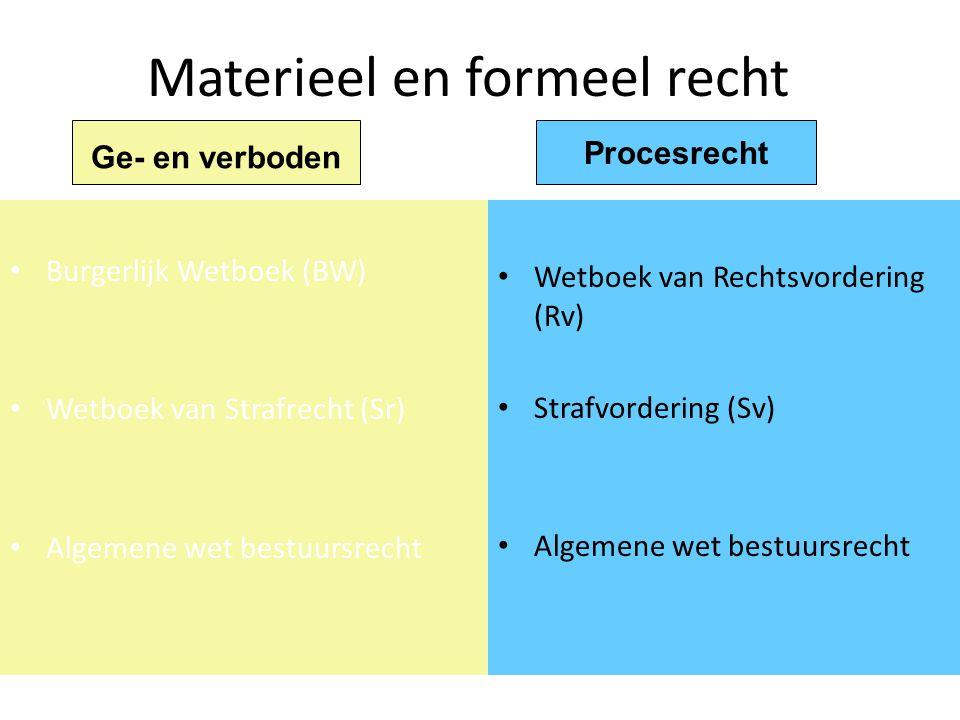 Materieel en formeel recht Burgerlijk Wetboek (BW) Wetboek van Strafrecht (Sr) Algemene wet bestuursrecht Wetboek van Rechtsvordering (Rv) Strafvorder