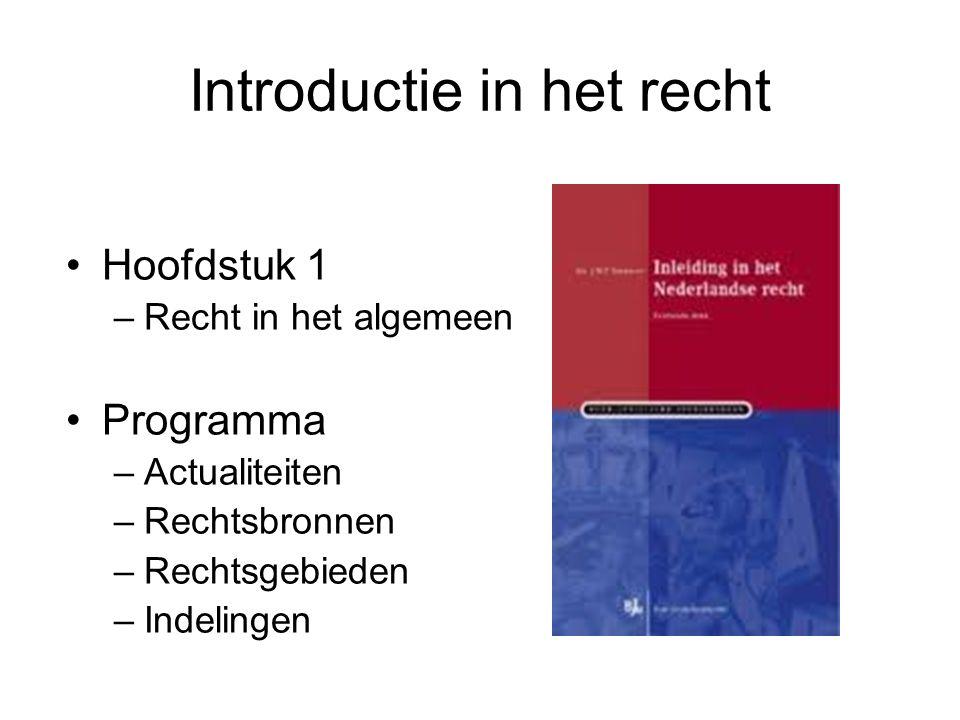Introductie in het recht Hoofdstuk 1 –Recht in het algemeen Programma –Actualiteiten –Rechtsbronnen –Rechtsgebieden –Indelingen