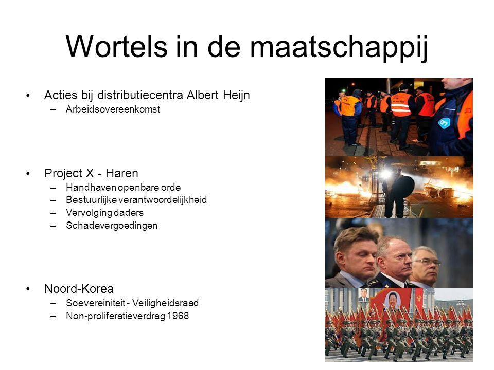 Wortels in de maatschappij Acties bij distributiecentra Albert Heijn –Arbeidsovereenkomst Project X - Haren –Handhaven openbare orde –Bestuurlijke ver