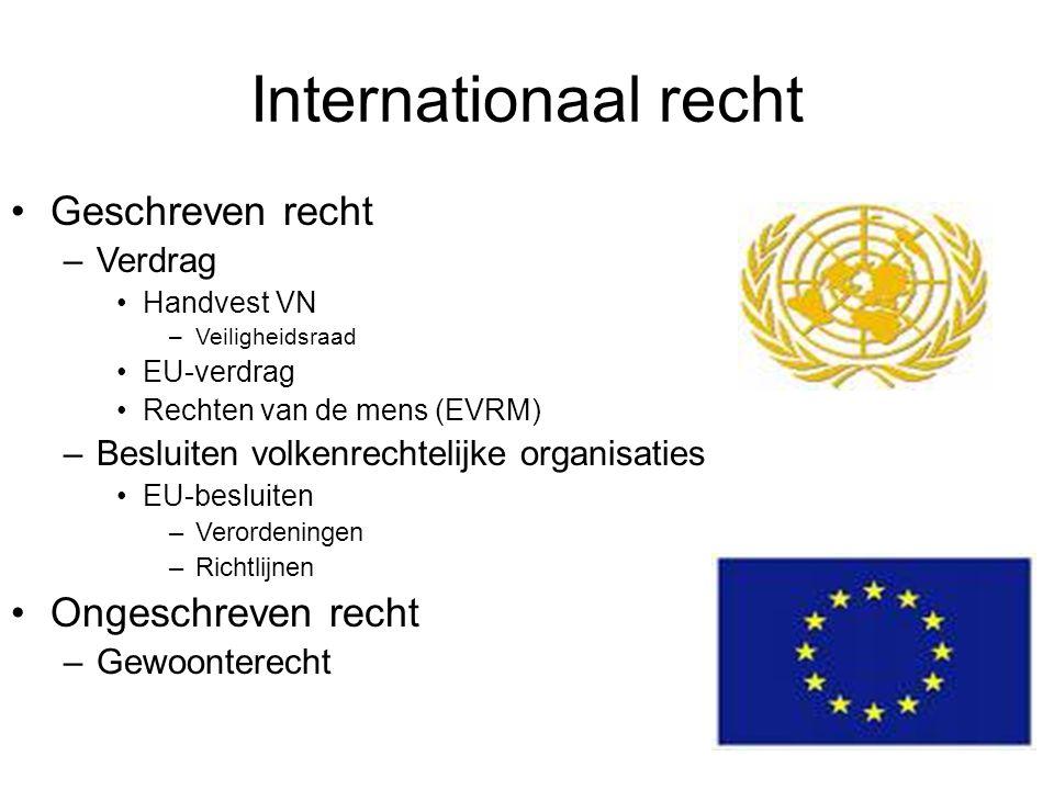 Internationaal recht Geschreven recht –Verdrag Handvest VN –Veiligheidsraad EU-verdrag Rechten van de mens (EVRM) –Besluiten volkenrechtelijke organis