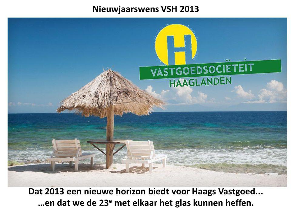 Dat 2013 een nieuwe horizon biedt voor Haags Vastgoed... …en dat we de 23 e met elkaar het glas kunnen heffen. Nieuwjaarswens VSH 2013