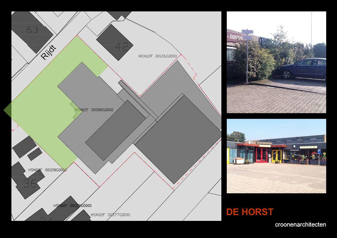 croonenarchitecten DE HORST Voorstel vluchtwegen Kadastraal lijkt er rondom De Horst een vluchtwegbreedte van ca. 3 meter aanwezig te zijn. Gezien de