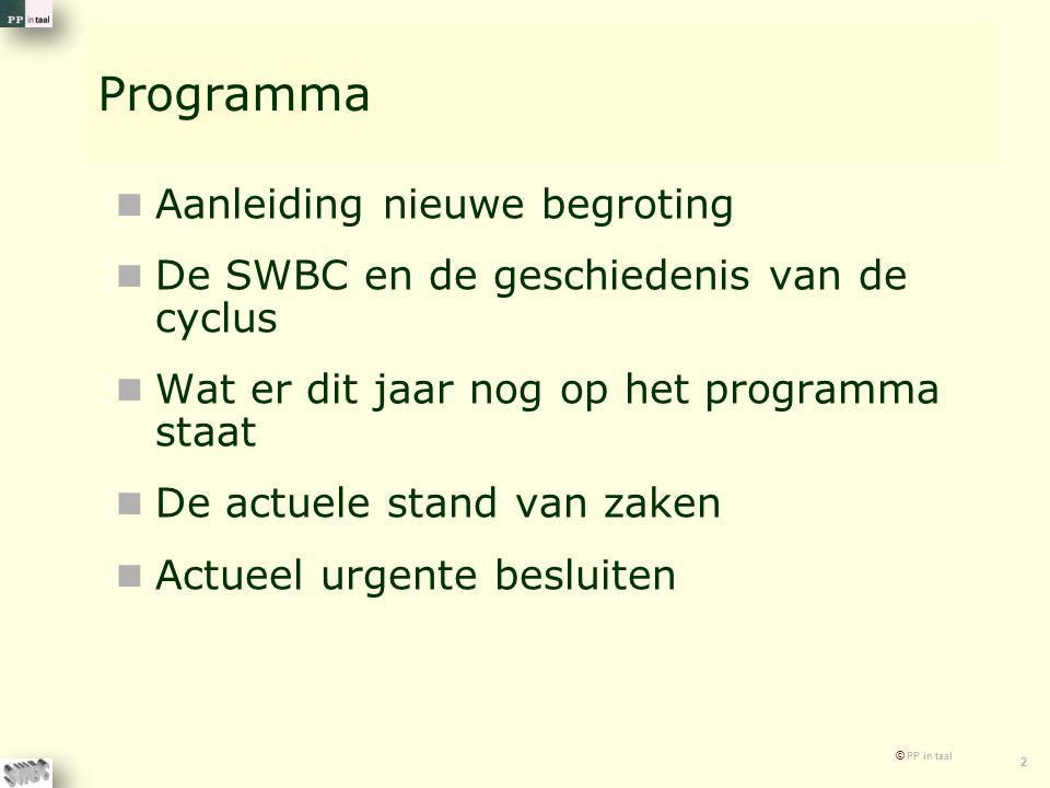 © PP in taal 2 Programma Aanleiding nieuwe begroting De SWBC en de geschiedenis van de cyclus Wat er dit jaar nog op het programma staat De actuele st