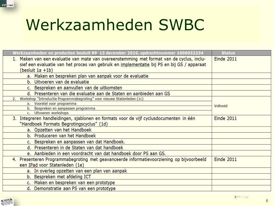 Werkzaamheden SWBC © PP in taal 6