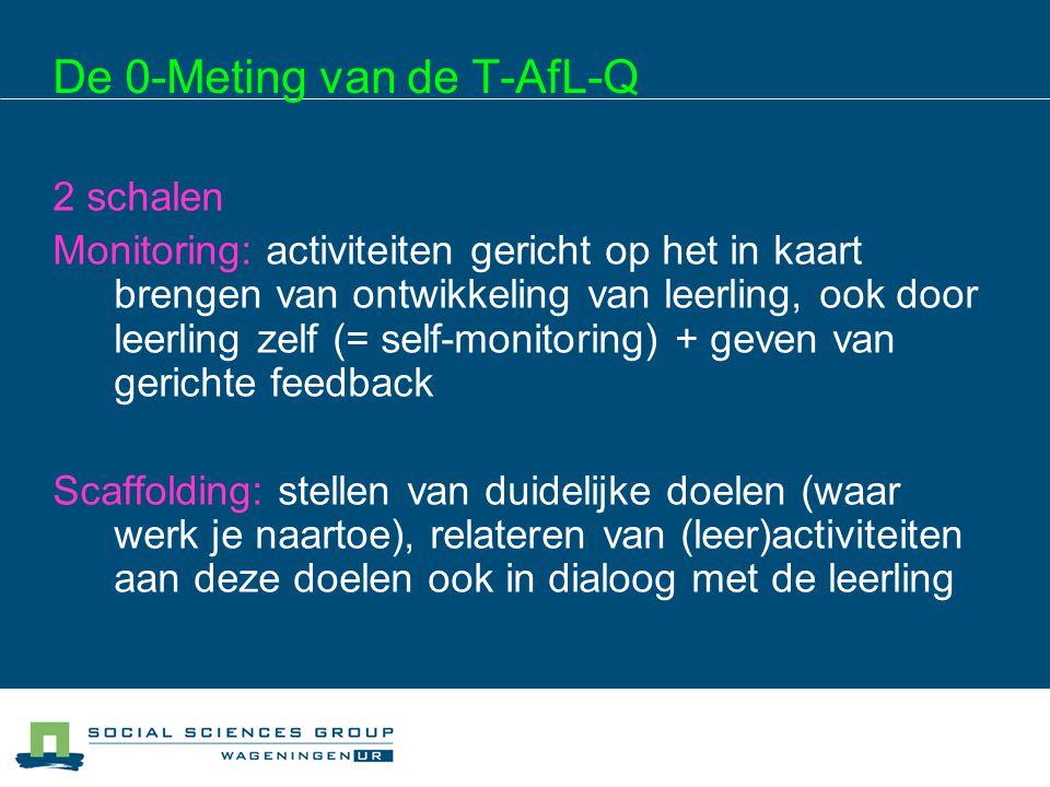 De 0-Meting van de T-AfL-Q 2 schalen Monitoring: activiteiten gericht op het in kaart brengen van ontwikkeling van leerling, ook door leerling zelf (=