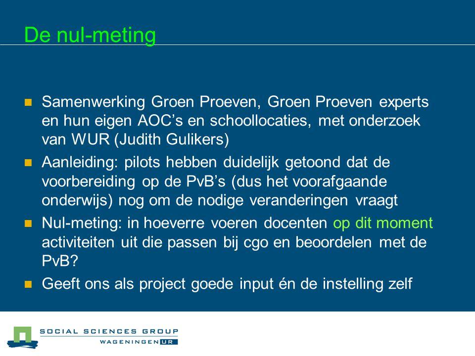 De nul-meting Samenwerking Groen Proeven, Groen Proeven experts en hun eigen AOC's en schoollocaties, met onderzoek van WUR (Judith Gulikers) Aanleidi