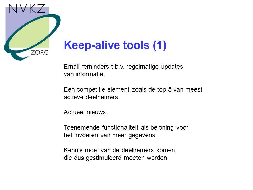 Keep-alive tools (1) Email reminders t.b.v. regelmatige updates van informatie.