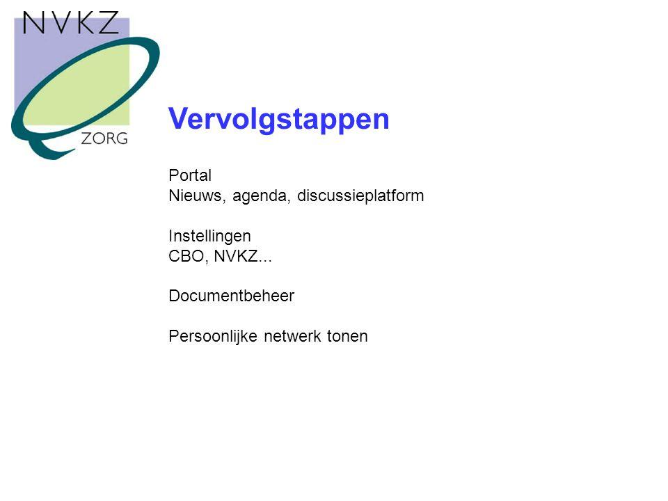 Vervolgstappen Portal Nieuws, agenda, discussieplatform Instellingen CBO, NVKZ...