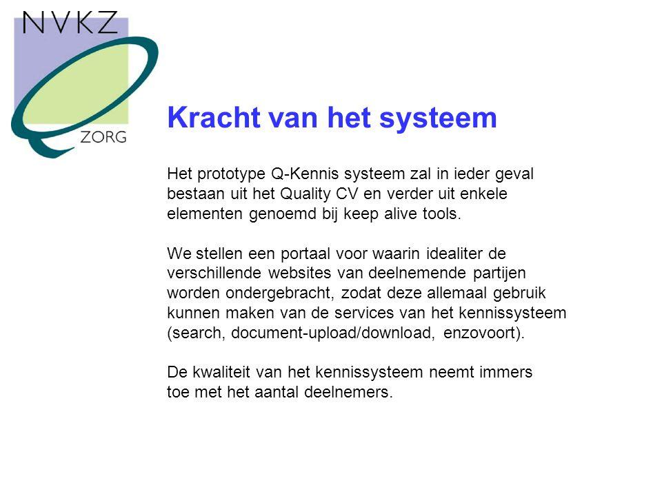 Kracht van het systeem Het prototype Q-Kennis systeem zal in ieder geval bestaan uit het Quality CV en verder uit enkele elementen genoemd bij keep alive tools.