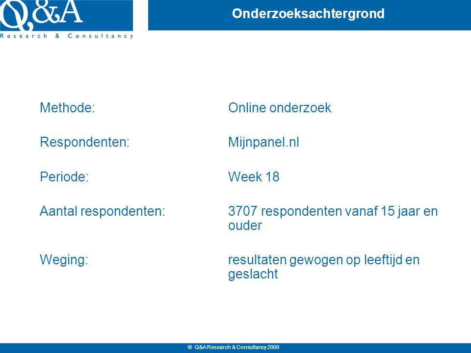 © Q&A Research & Consultancy 2009 Onderzoeksachtergrond Methode:Online onderzoek Respondenten:Mijnpanel.nl Periode:Week 18 Aantal respondenten:3707 respondenten vanaf 15 jaar en ouder Weging:resultaten gewogen op leeftijd en geslacht