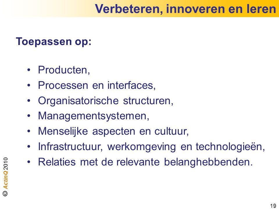 Verbeteren, innoveren en leren 19 Toepassen op: Producten, Processen en interfaces, Organisatorische structuren, Managementsystemen, Menselijke aspect