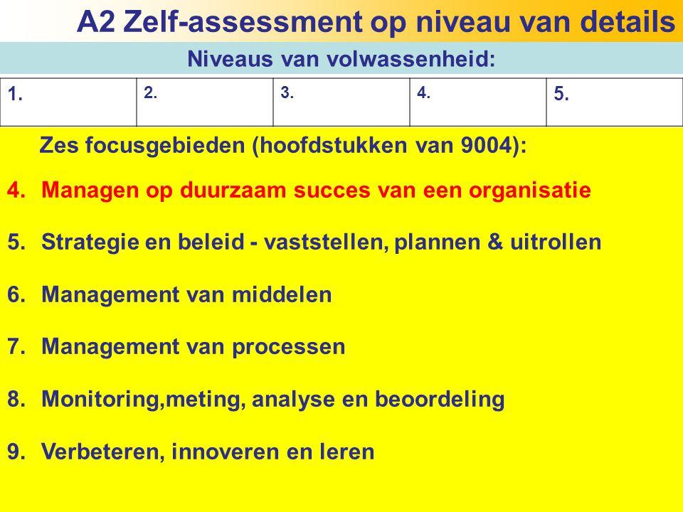22 Zes focusgebieden (hoofdstukken van 9004): 4.Managen op duurzaam succes van een organisatie 5.Strategie en beleid - vaststellen, plannen & uitrolle