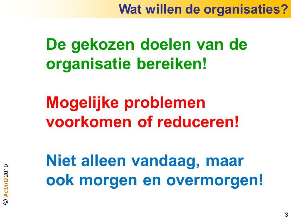 Wat willen de organisaties? De gekozen doelen van de organisatie bereiken! Mogelijke problemen voorkomen of reduceren! Niet alleen vandaag, maar ook m