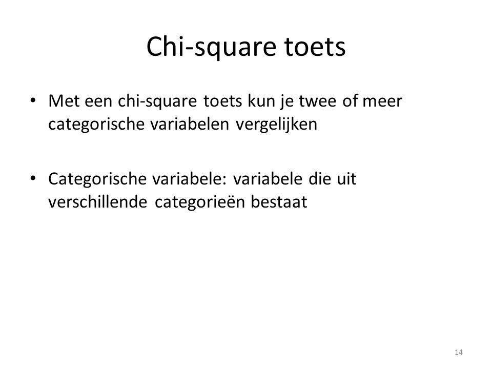 Chi-square toets Met een chi-square toets kun je twee of meer categorische variabelen vergelijken Categorische variabele: variabele die uit verschillende categorieën bestaat 14