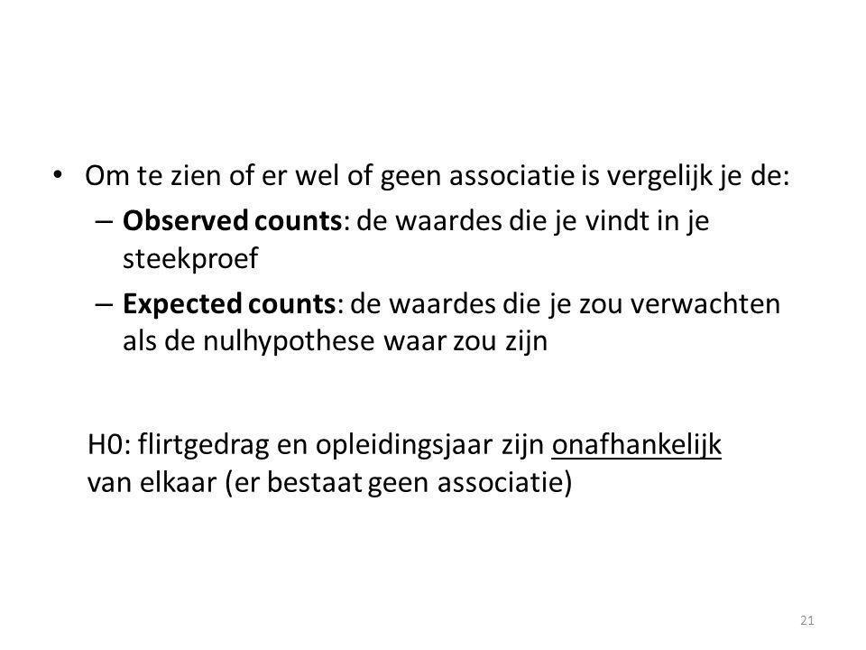Om te zien of er wel of geen associatie is vergelijk je de: – Observed counts: de waardes die je vindt in je steekproef – Expected counts: de waardes